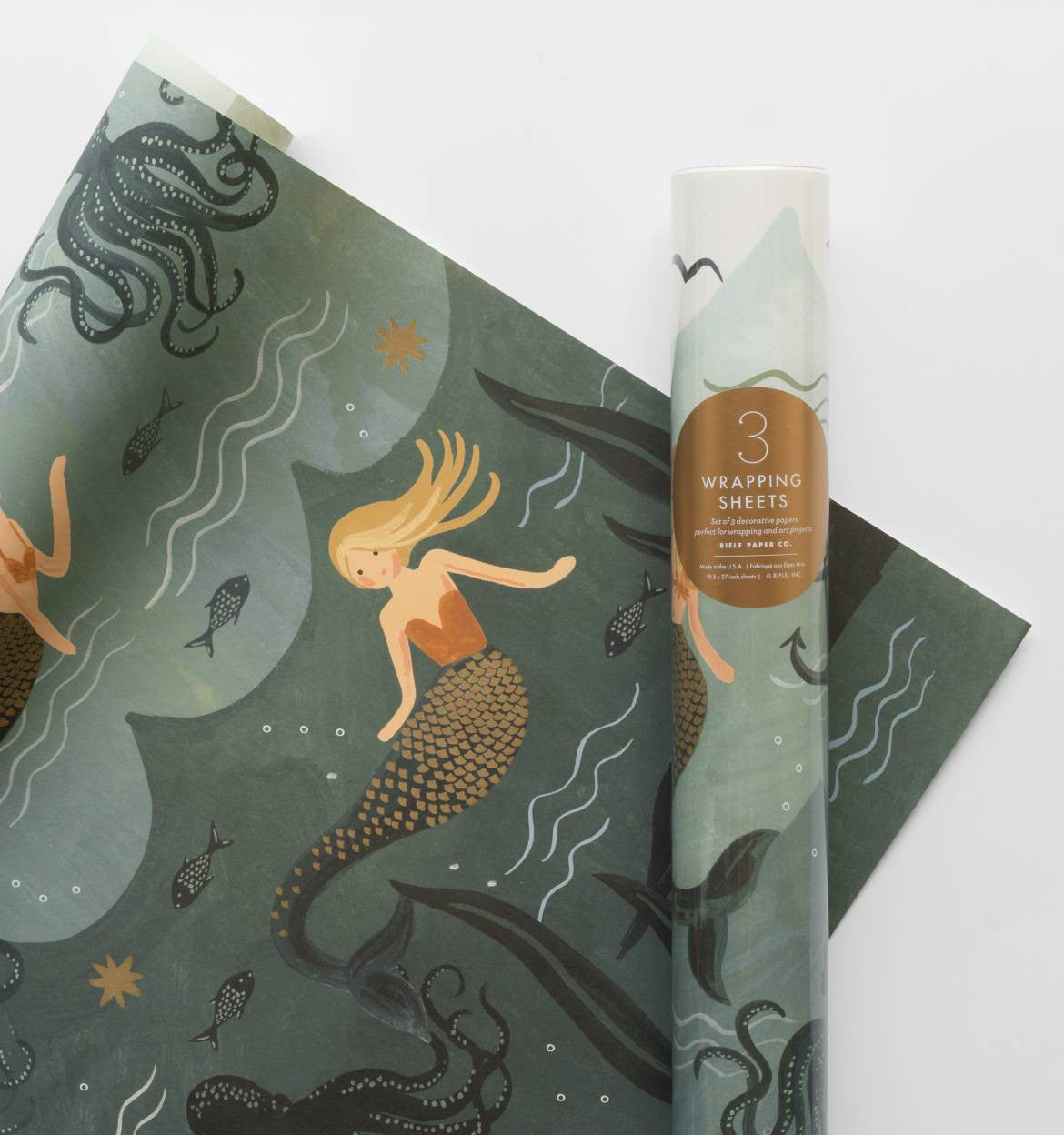 Rifle Paper Co. Mermaid Wrapping Sheets,  Roll of 3