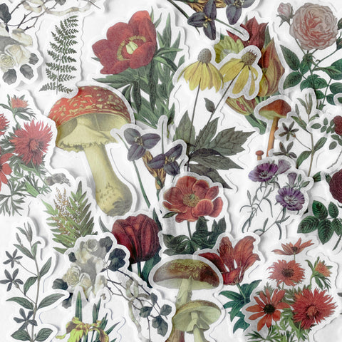 Washi Paper Stickers - Flowers & Mushrooms