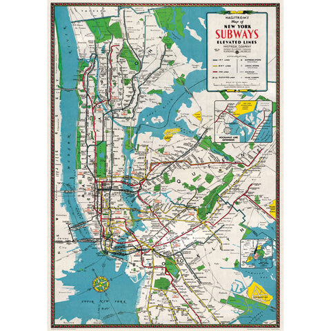 Nyc Subway Map 2017 Poster.Cavallini Vintage Prints The Paper Place