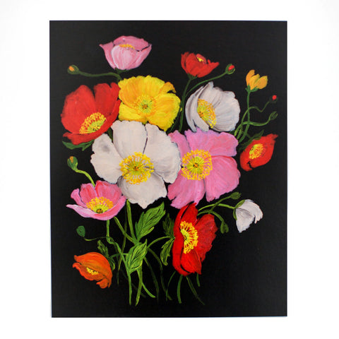 Colourful Icelandic Poppies On Black 8x10