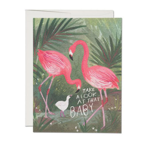 Flamingo Baby Single Card