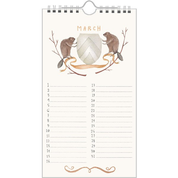 Animal Crest Birthday Calendar