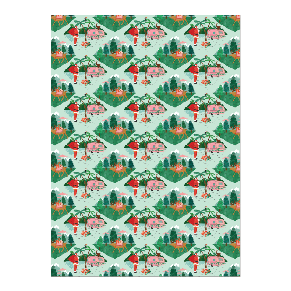 Santa Camper Gift Wrap Sheet, roll of 3