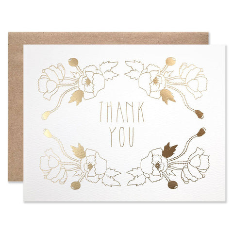 Gold Foil Thank You Poppy Garden Single Card