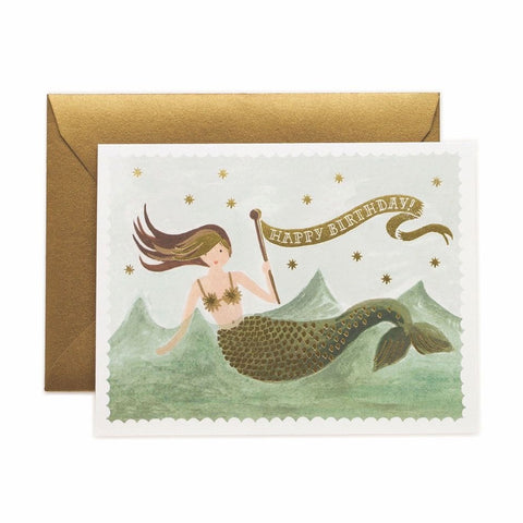 Vintage Mermaid Birthday Single Card