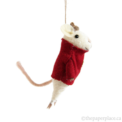 Yuletide Mouse Ornament - Wreath