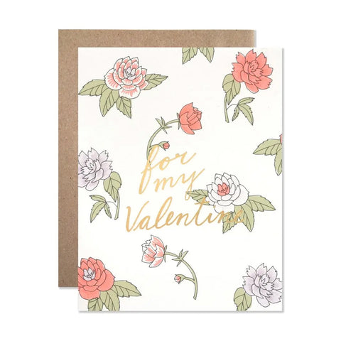 Valentine Floral with Gold Single Card
