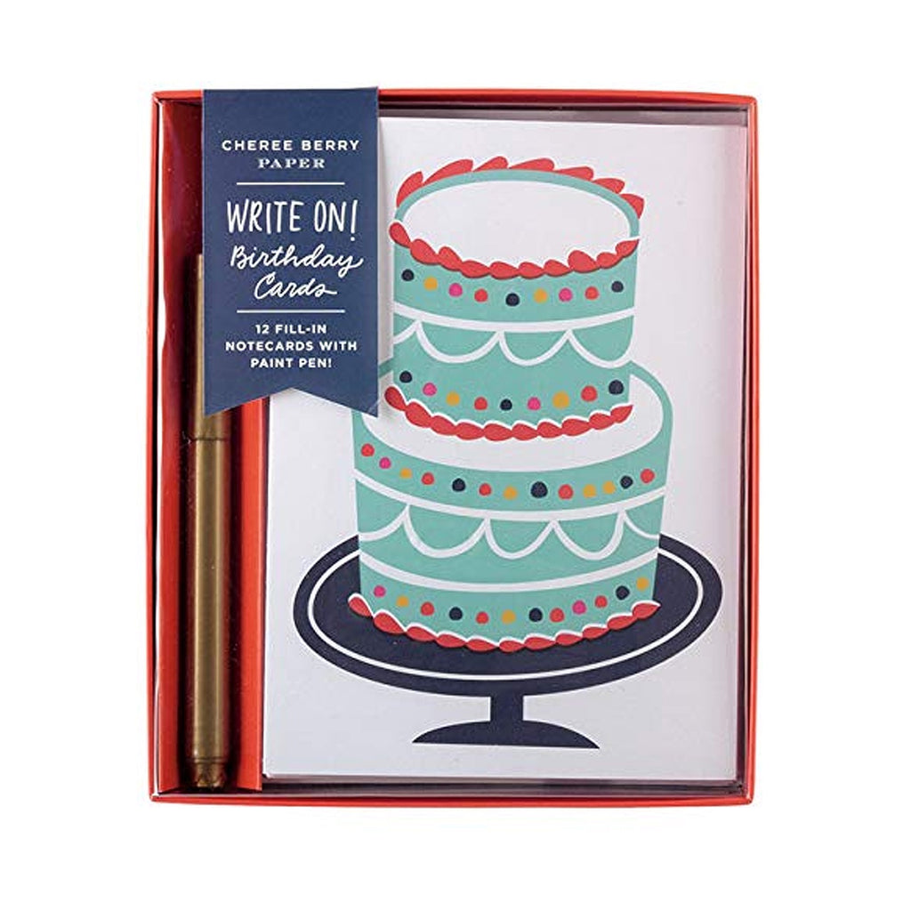 Write On! Birthday Cards With Pen Boxed Cards