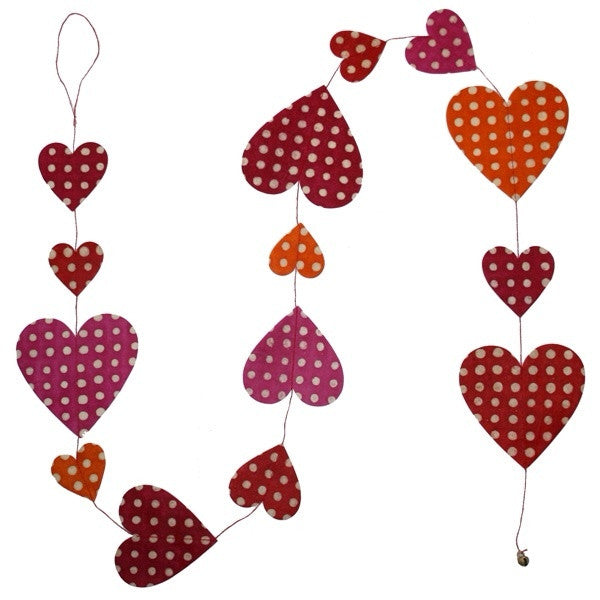 Heart Garland - Batik Dots Red