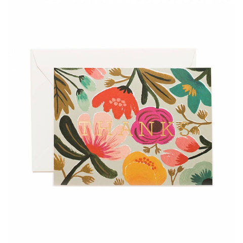 Gold Floral Thanks Boxed Cards