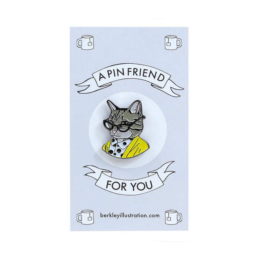 Berkley Tabby Cat Lady Enamel Pin