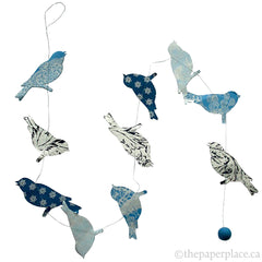 Bird Garland - Blue Metallic