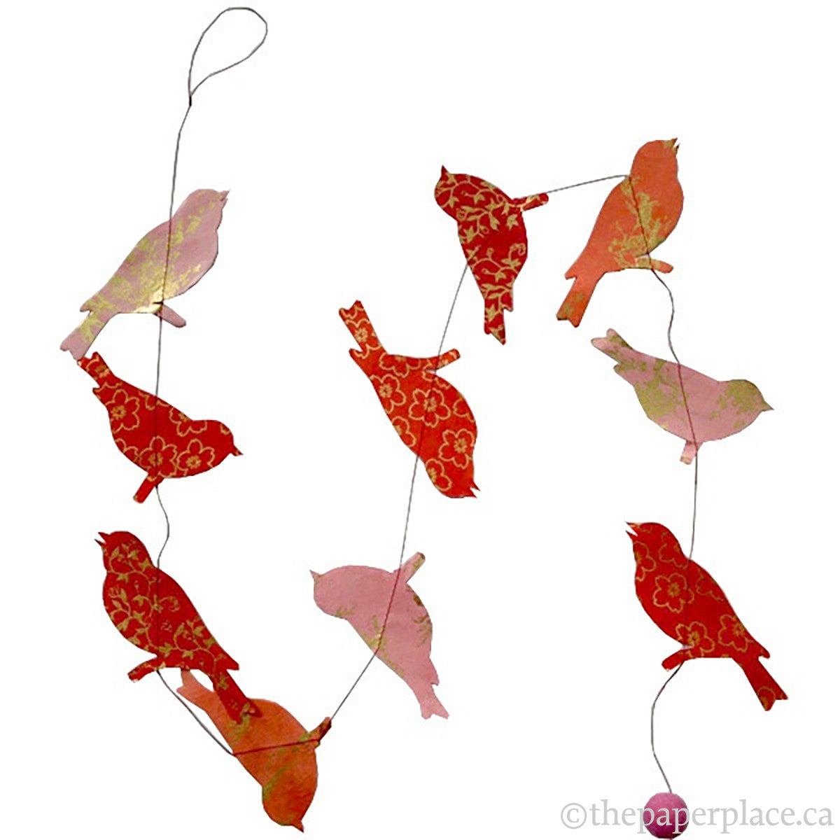 Bird Garland - Red Metallic