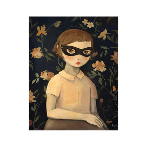 Masked Evaline with Floral Wallpaper 8x10