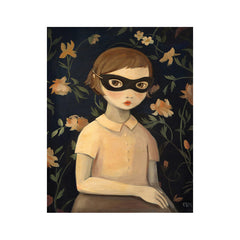 "Masked Evaline with Floral Wallpaper 8x10"" Print"