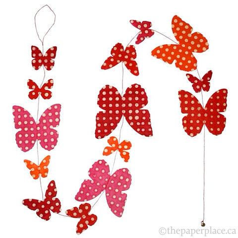 Butterfly Garland - Batik Dots Red