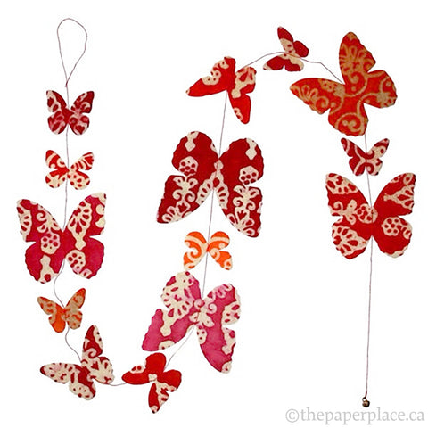 Butterfly Garland - Batik Trees Red