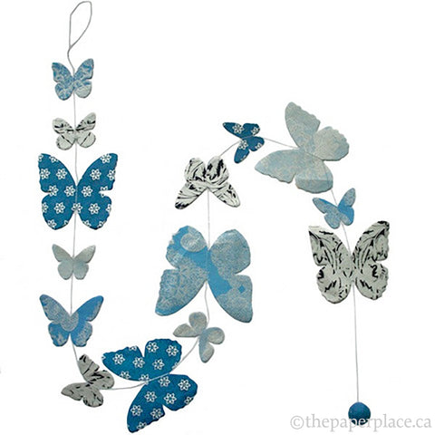 Butterfly Garland - Blue Metallic
