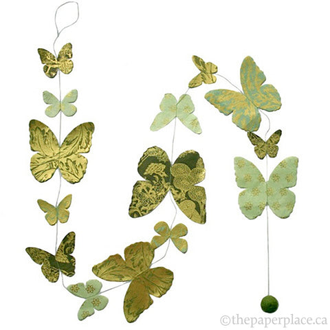 Butterfly Garland - Green Metallic