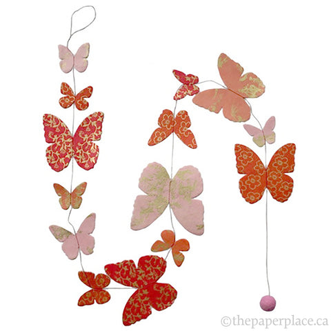 Butterfly Garland - Pink Metallic