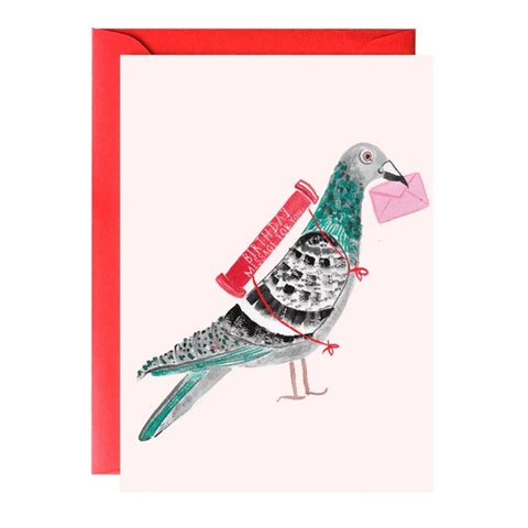 Pigeon With a Message Birthday Single Card