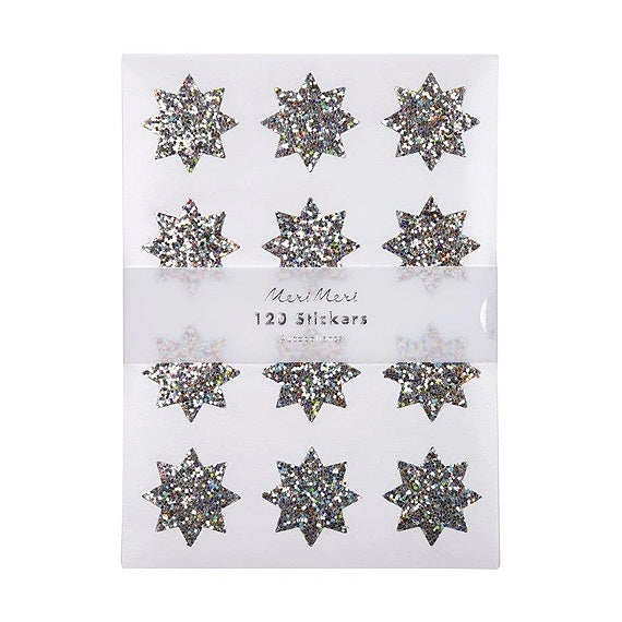Silver Sparkle Star Stickers