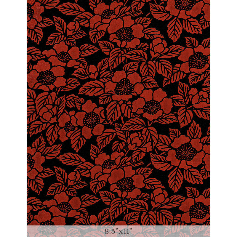 "Lacquered Yuzen - Camellia Red Sample 8.5"" x 11"""