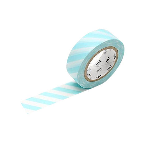 Mint Blue Stripe Washi Tape - 15 mm