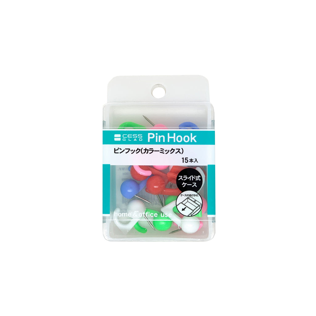 Colourful Hook Push Pins - 15pk