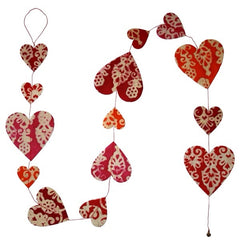 Heart Garland - Batik Trees Red