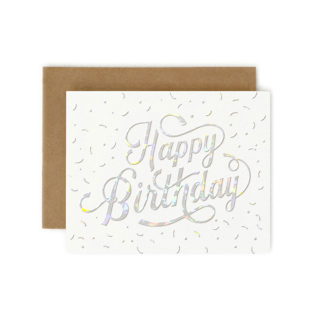 Happy Birthday Holographic Foil Single Card