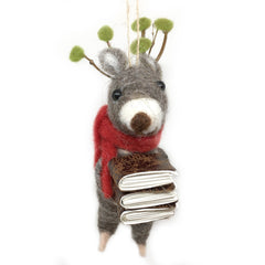 Caroling Reindeer Ornament - Book Stack