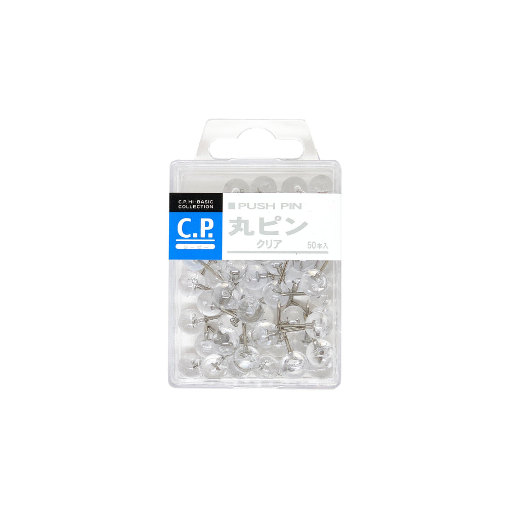 Clear Round Push Pins - 50 Pack