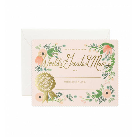 Greatest Mom Certificate Single Card