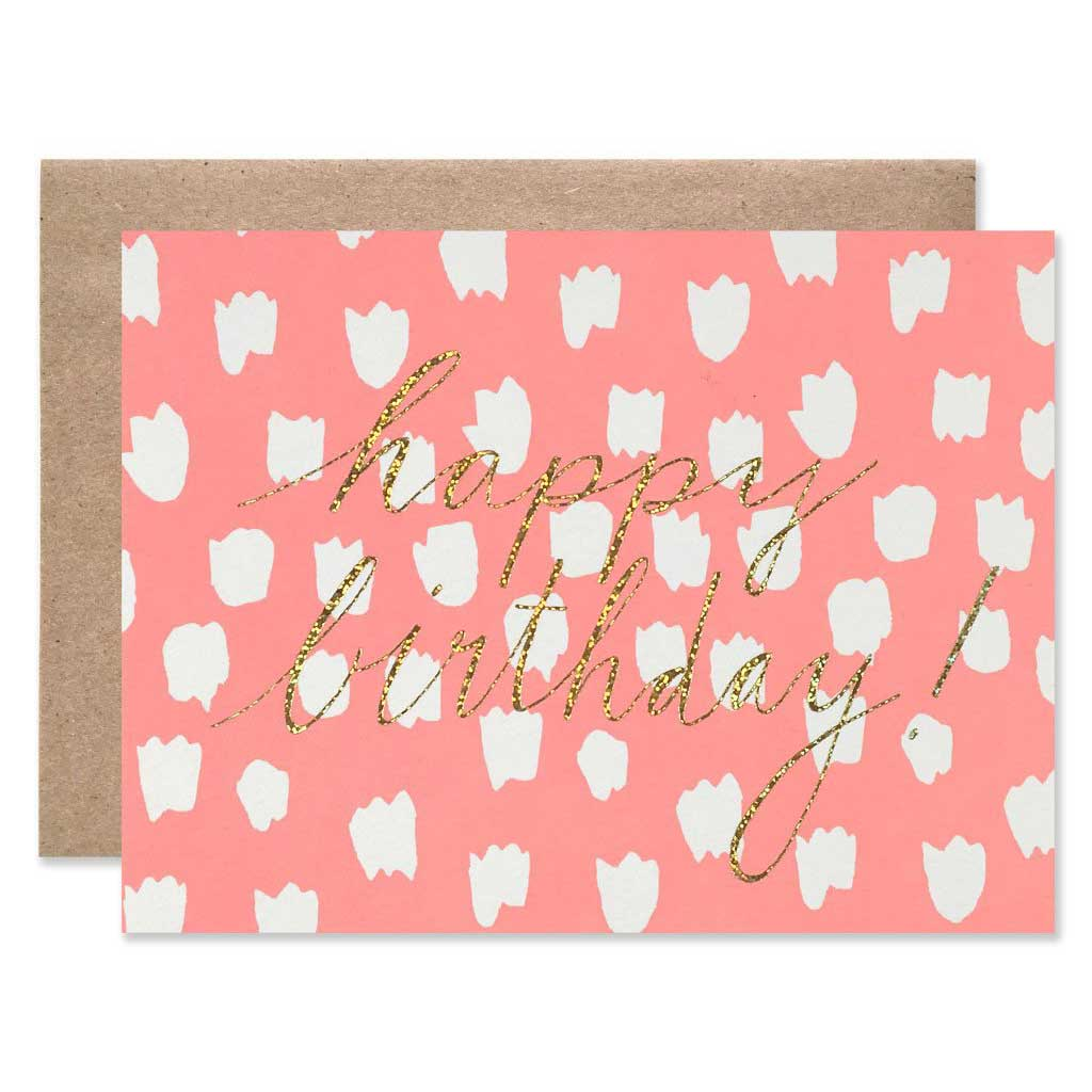 Happy Birthday Dots With Glitter Single Card