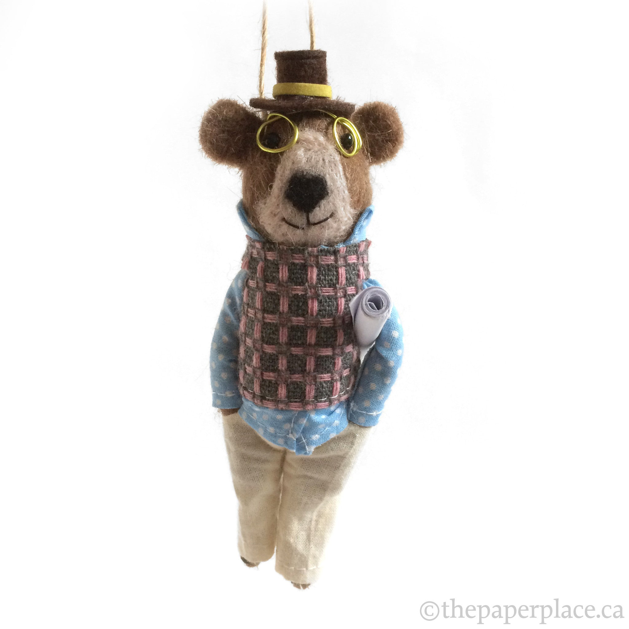 Holiday Hipster Ornament - Bear