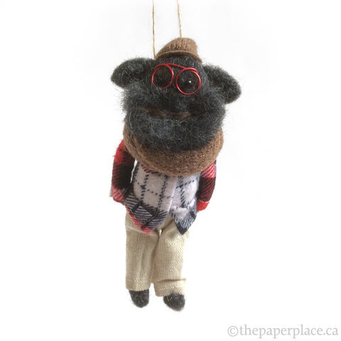 Holiday Hipster Ornament - Black Dog