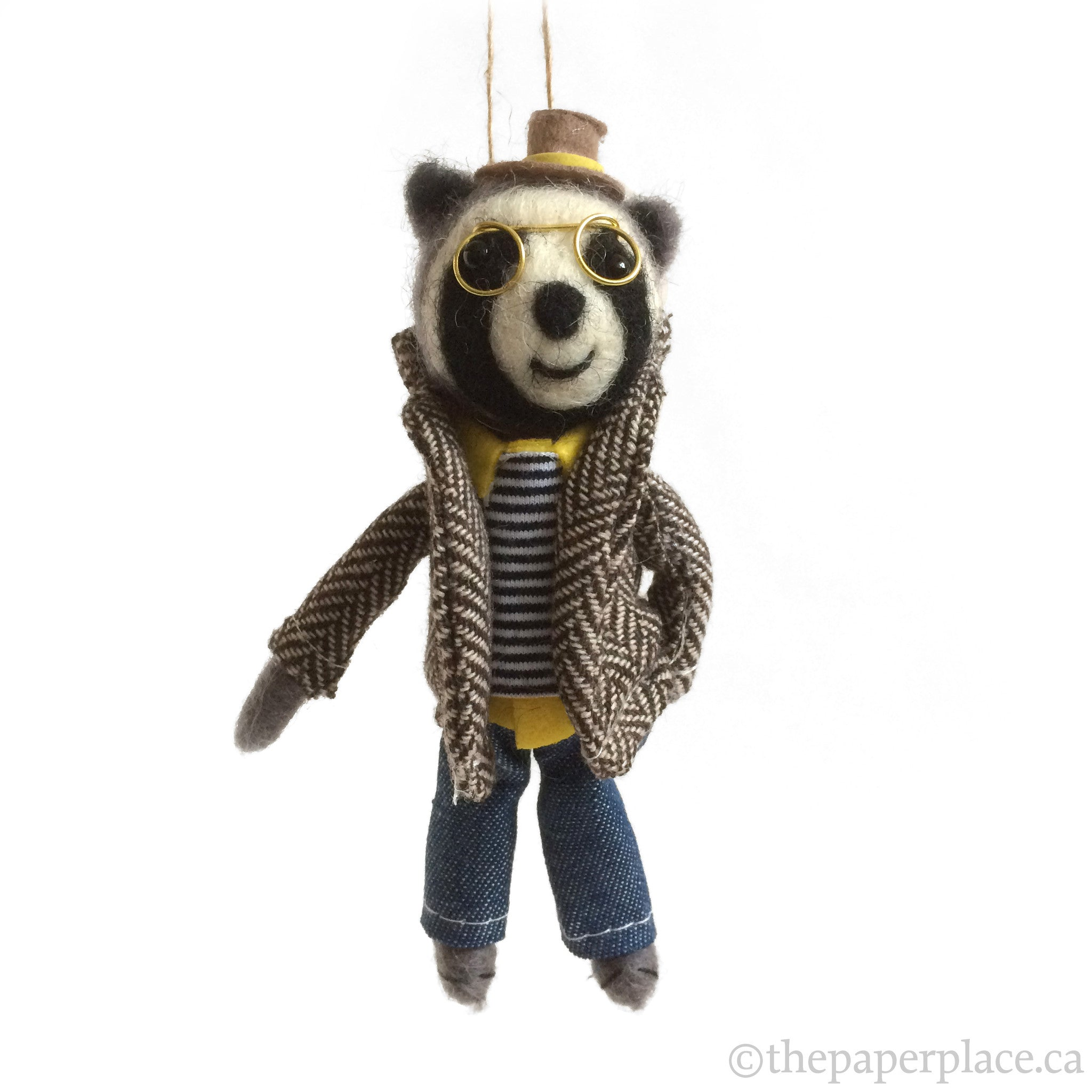 Holiday Hipster Ornament - Raccoon