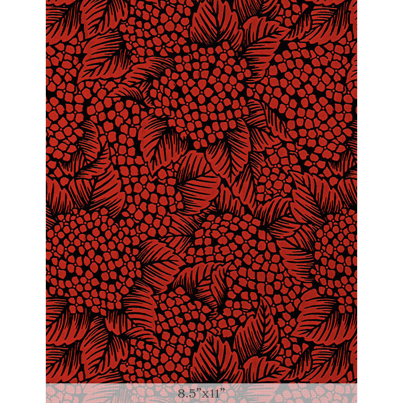 "Lacquered Yuzen - Hydrangea Red Sample 8.5"" x 11"""