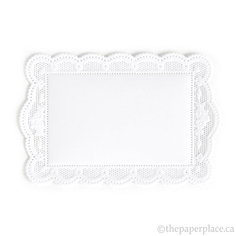 Dresden Trim - Rectangle Doily - Double-Sided White