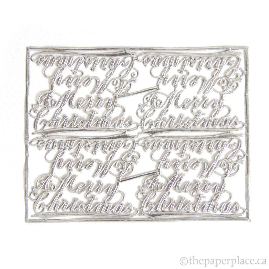 Dresden Trim - Merry Christmas - Single-Sided Silver