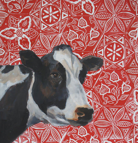 Cow on Red Block Print