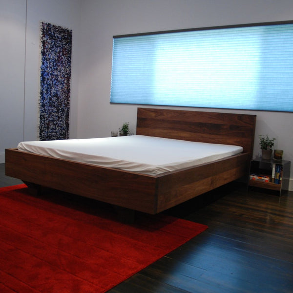 Floating Walnut Platform Bed