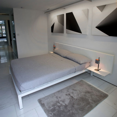 White Leather Platform Bed