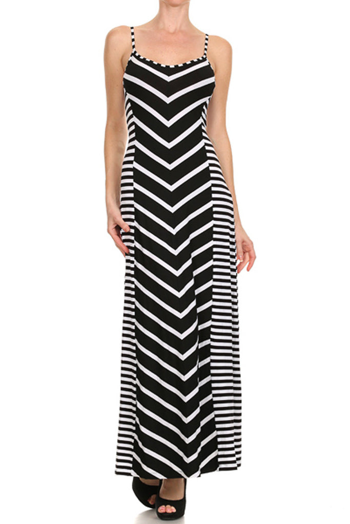 Mixed Stripe Maxi Dress in Black