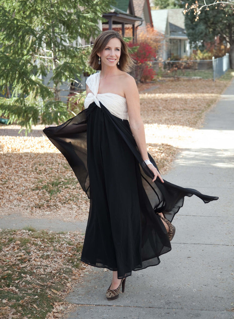 Asymmetrical Shoulder Maxi Dress