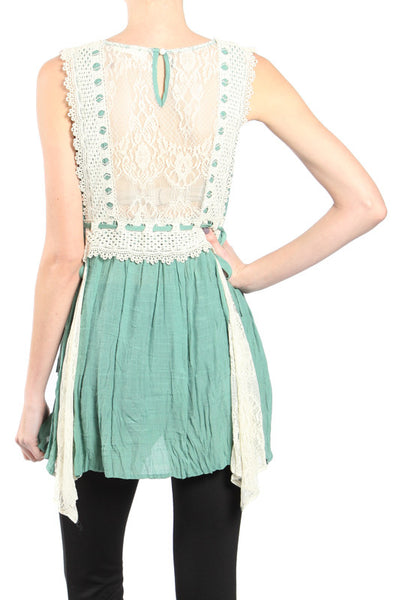 Crochet Trim Sleeveless Top