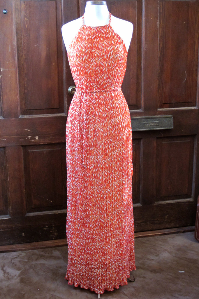 Orange Chevron Print Pleated Maxi Dress