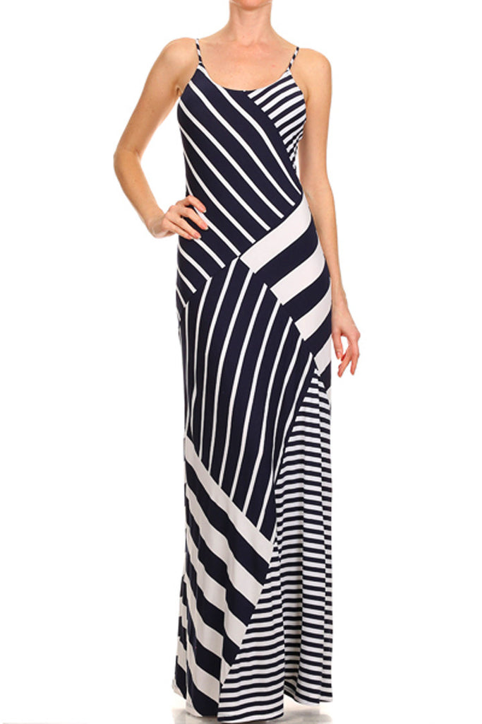 Stripe Mix Maxi Dress in Navy