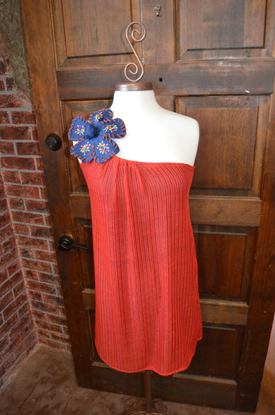 Crochet One Shoulder Drape Dress with Flower